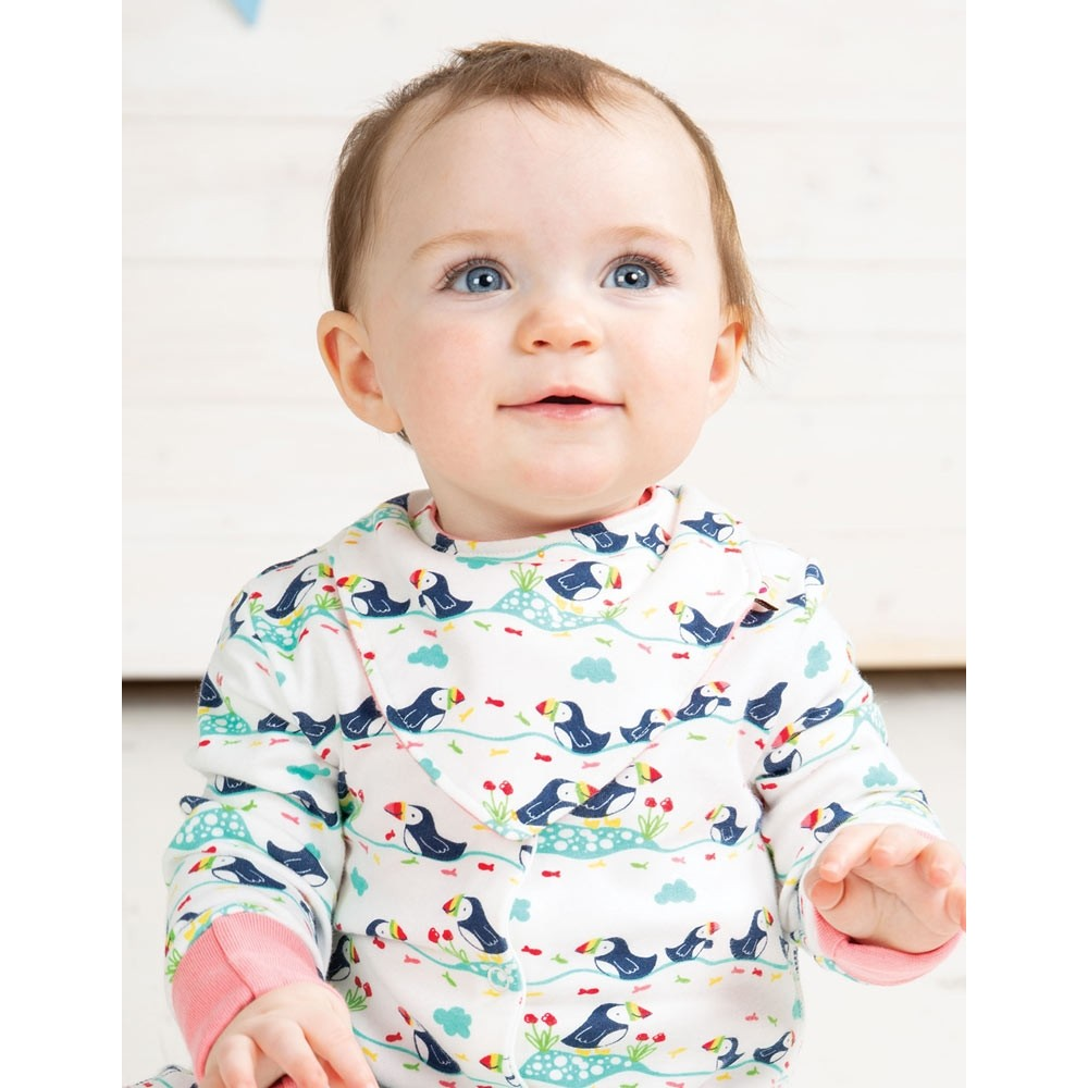 Frugi Puffin Parade Lovely Babygrow