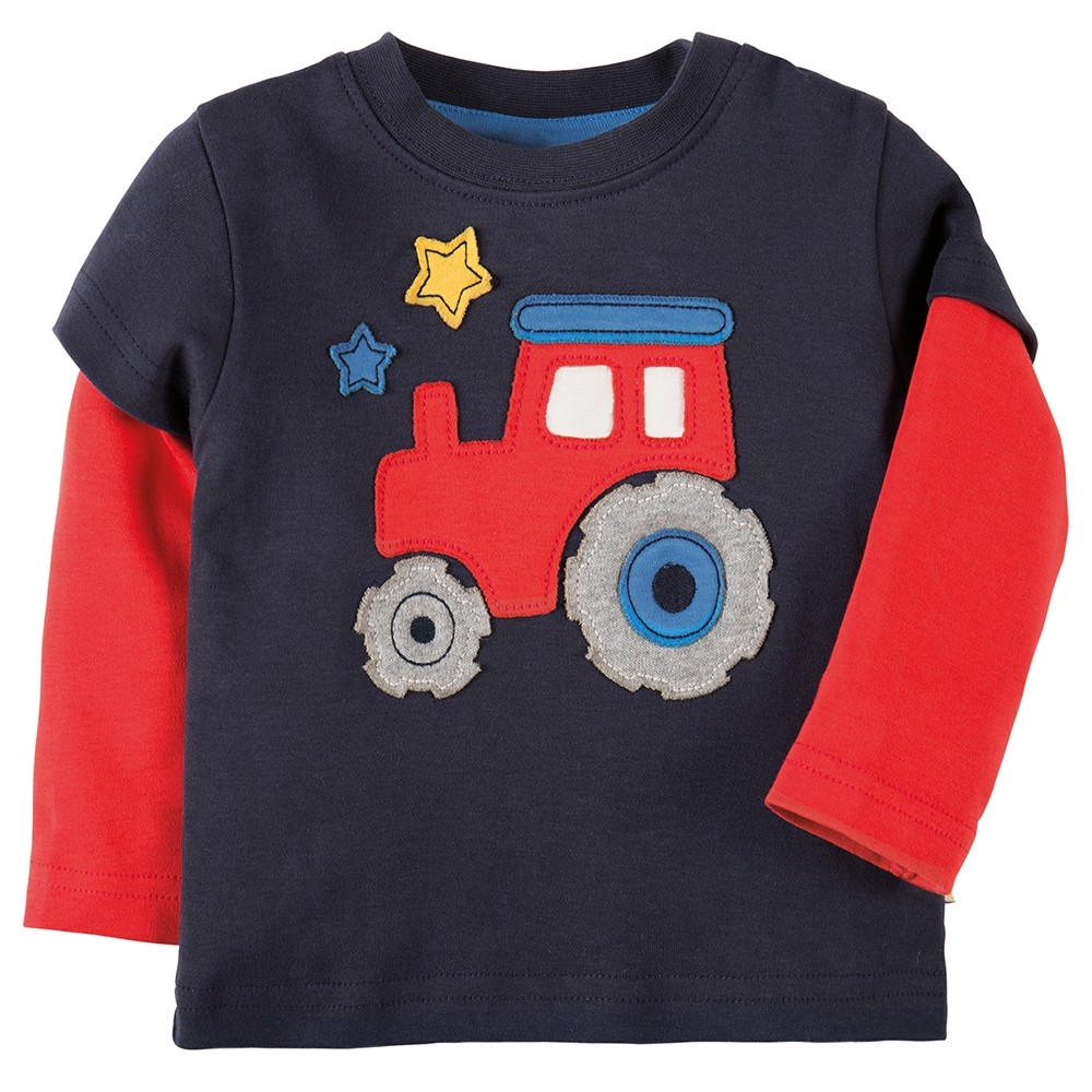 Co Op Tractor Pulling T Shirt : Frugi tractor little look out applique top