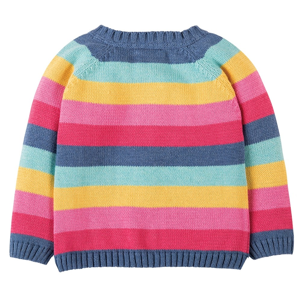 Frugi Pink Rainbow Little Happy Day Cardigan