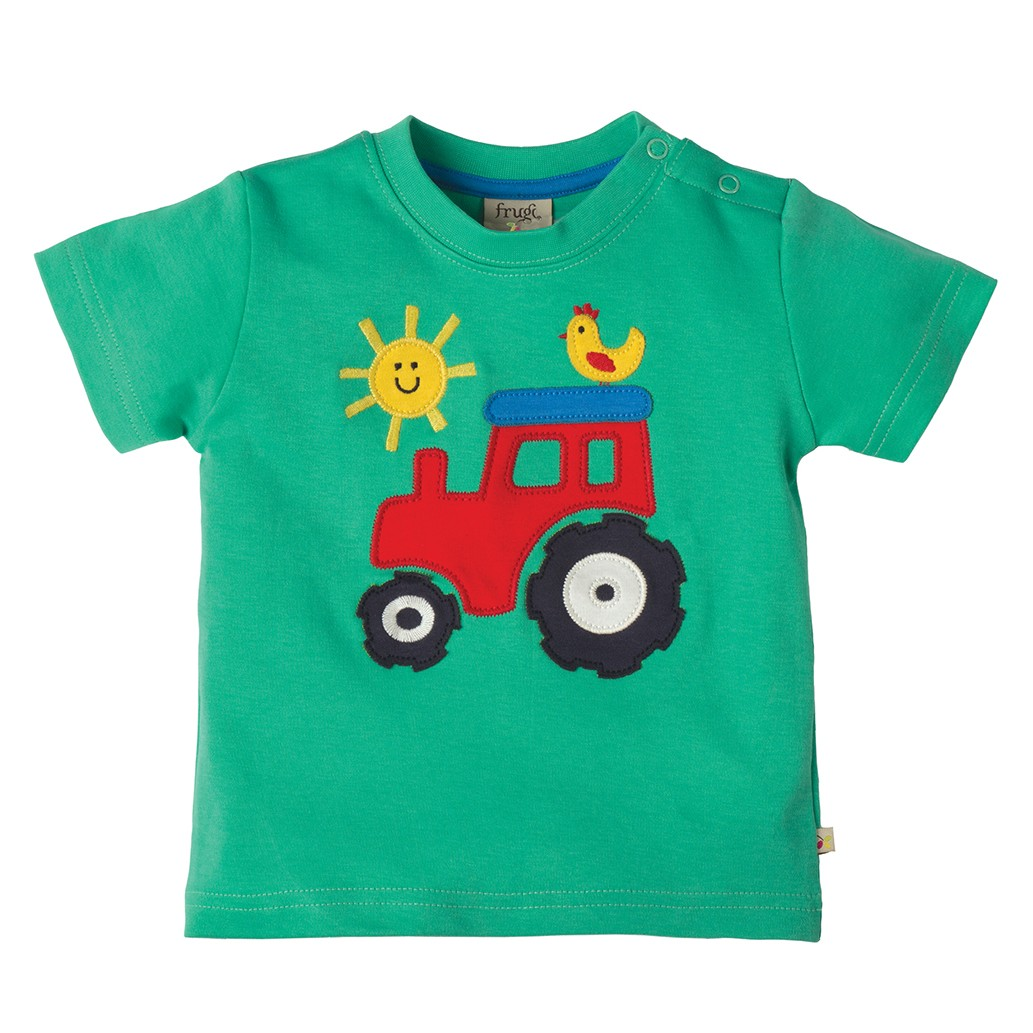 Frugi Tractor Little Wheels Applique T-shirt