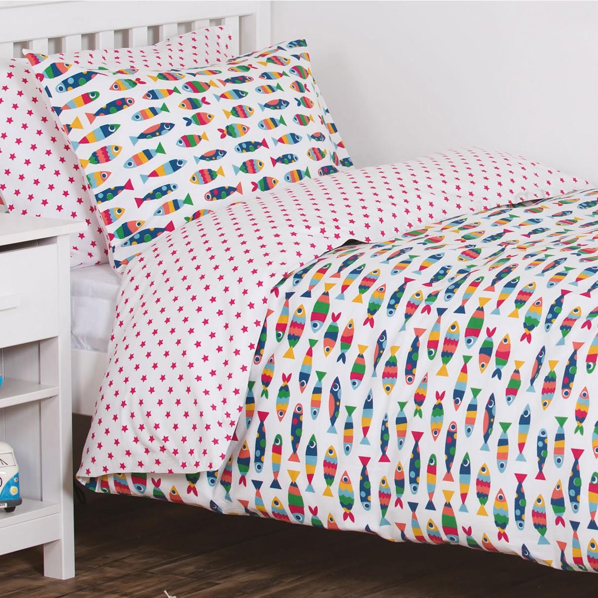 Frugi rainbow fish cot bed set for Fishing crib bedding