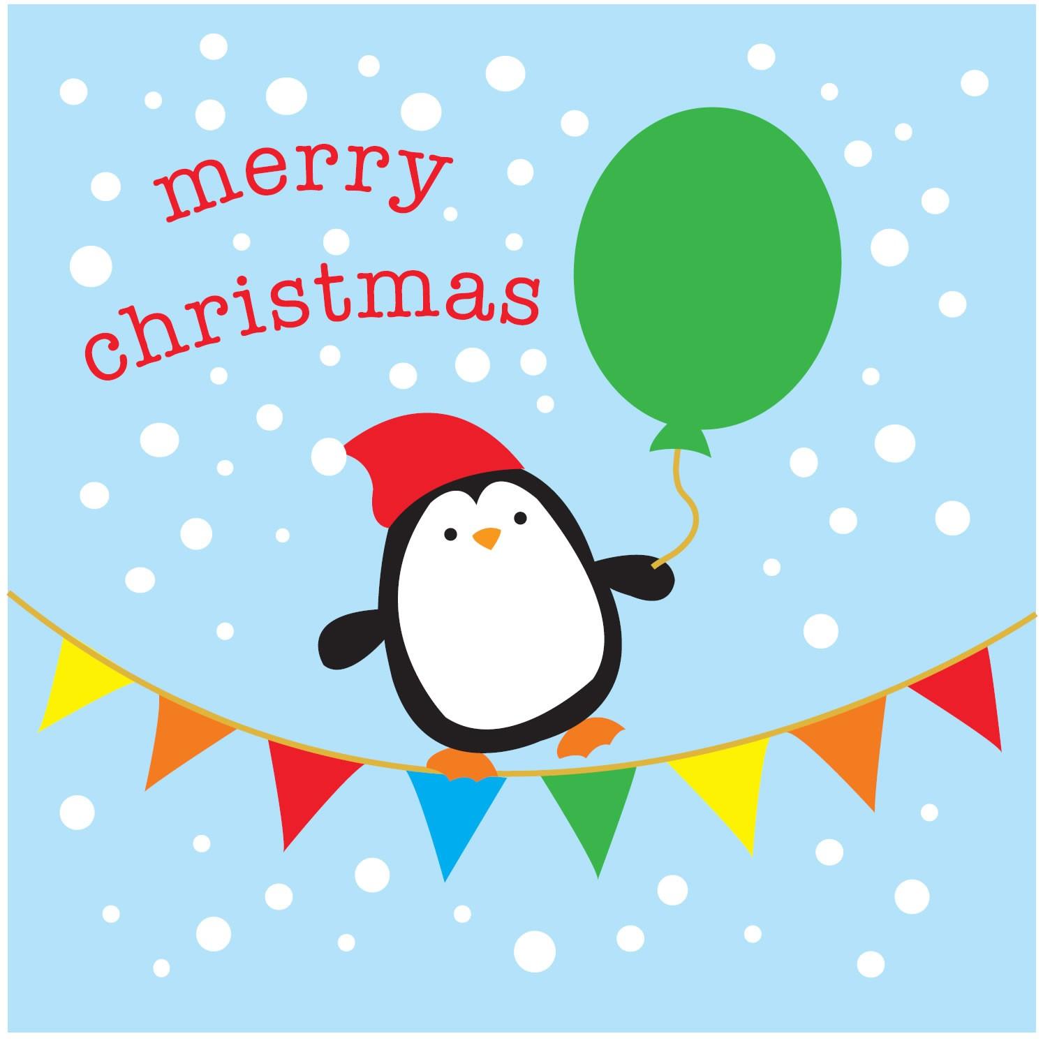 babipur penguin merry christmas card