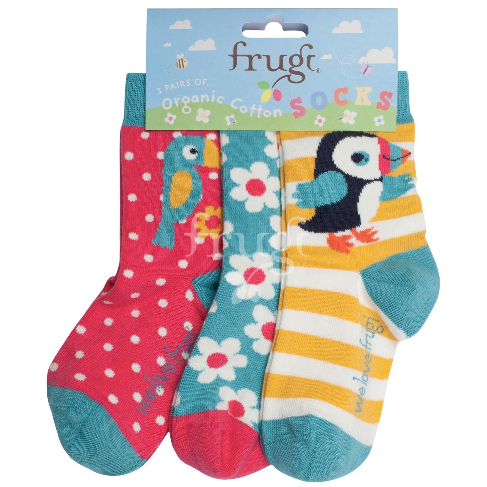 Frugi Susie Socks 3 Pack Paradise Birds