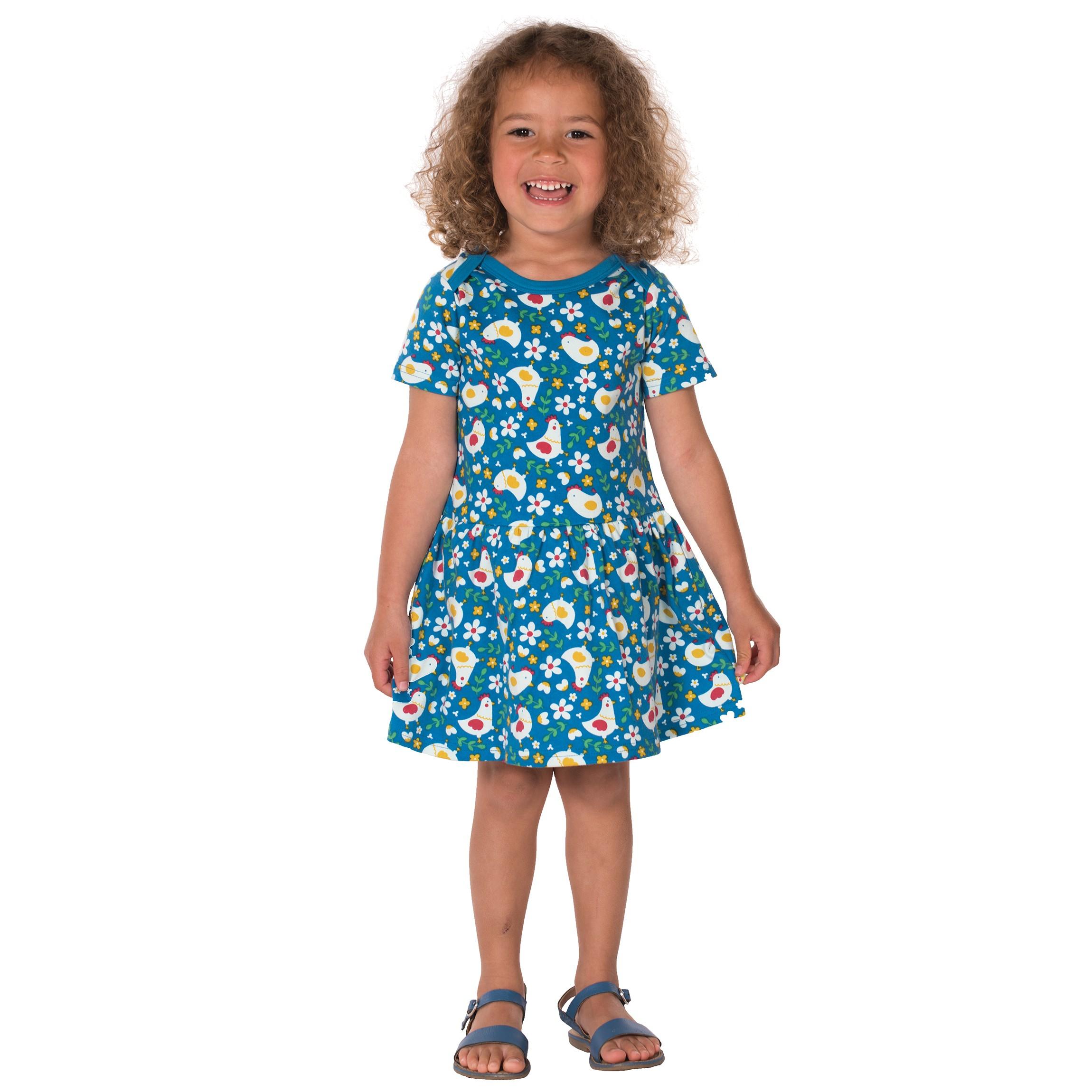 Frugi Aria Body Dress - Diver Blue Happy Hens