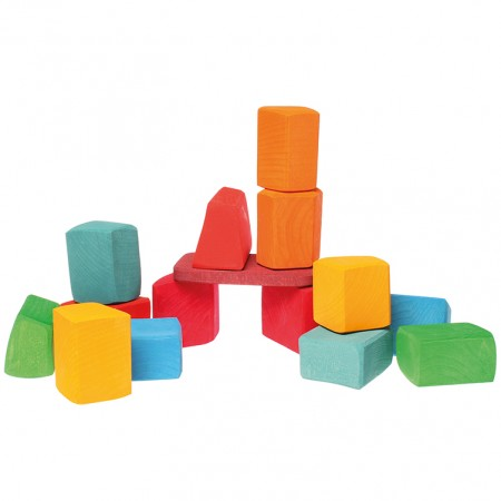Grimm's 15 Rainbow Coloured Blocks