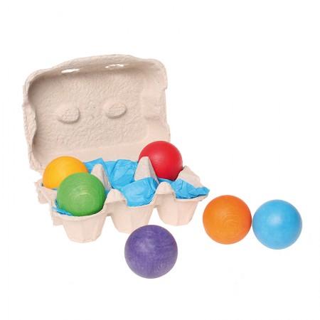 Grimm's 6 Rainbow Wooden Balls