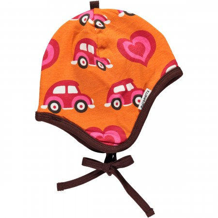 Maxomorra Orange Car Baby Bonnet Hat