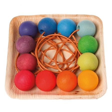 Grimm's 12 Rainbow Bead Keyrings