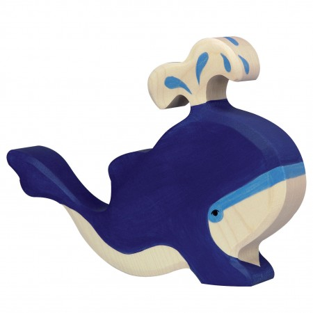 Holztiger Blue Whale With Water Fountain