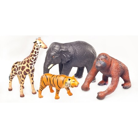 Green Rubber Toys Jungle Animals Set 4