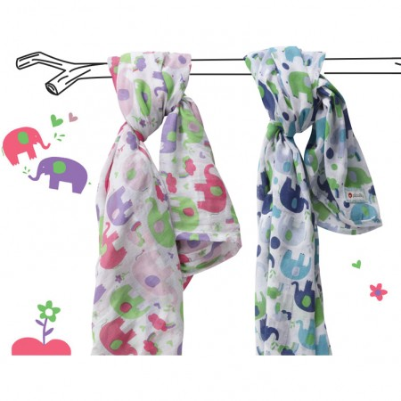 Piccalilly Elephant Muslin Swaddles