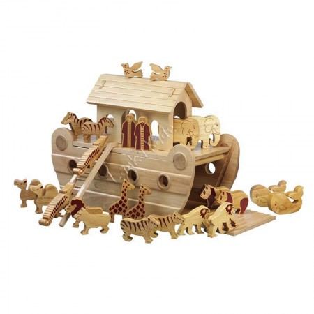 Large Solid Wood Noah's Ark
