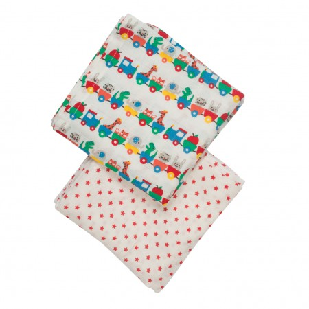 Frugi Alphabet Train Lovely Muslins x 2
