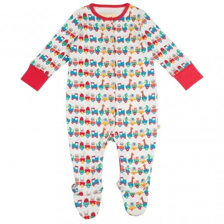 Frugi Alphabet Train Lovely Babygrow