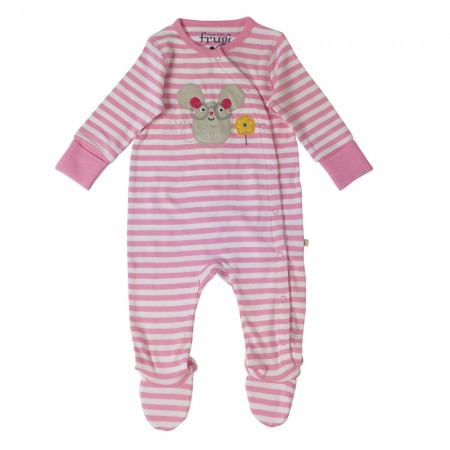 Frugi Pink/Mouse Swoop Babygrow