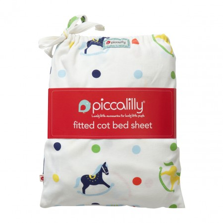 Piccalilly Rocking Horse Fitted Cot Bed Sheet