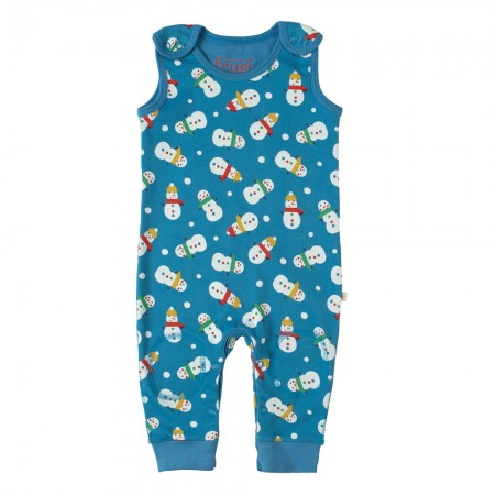 Frugi Snowman Kneepatch Dungarees