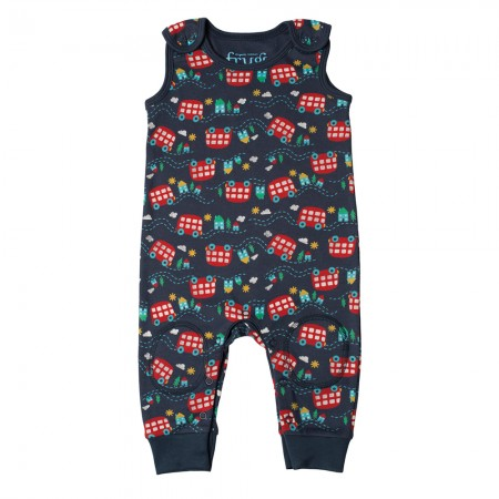 Frugi Wheels On The Bus Kneepatch Dungarees