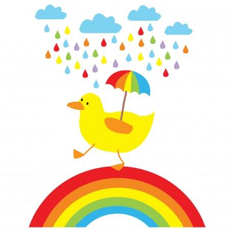 Babipur Rainbow Duck Greetings Card