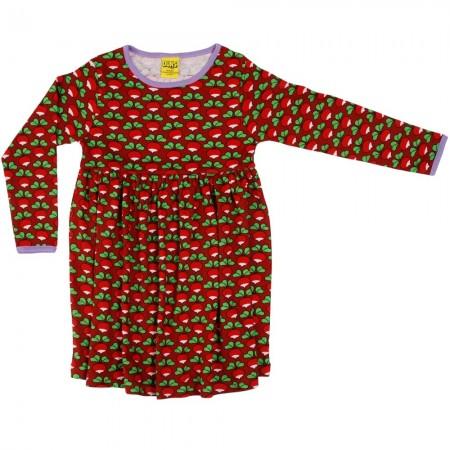 DUNS Dark Red Radish LS Gathered Dress