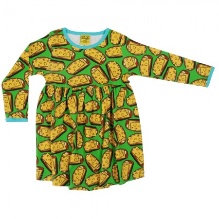 DUNS Adult Green Cheese Sandwich LS Gathered Dress