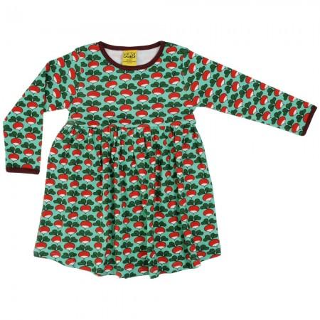 DUNS Dark Jade Radish LS Gathered Dress