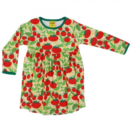 DUNS Pale Yellow Growing Tomatoes LS Gathered Dress