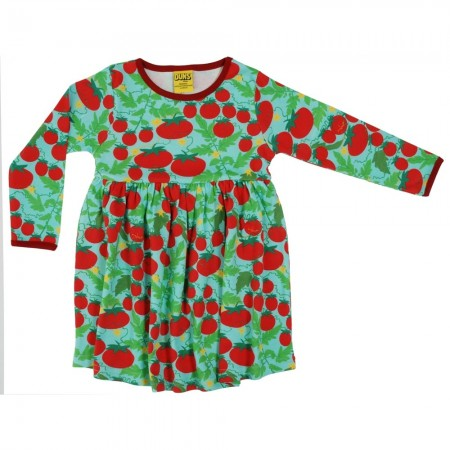 DUNS Adult Turquoise Growing Tomatoes LS Gathered Dress
