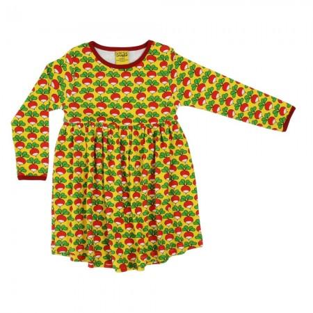 DUNS Adult Yellow Radish LS Gathered Dress