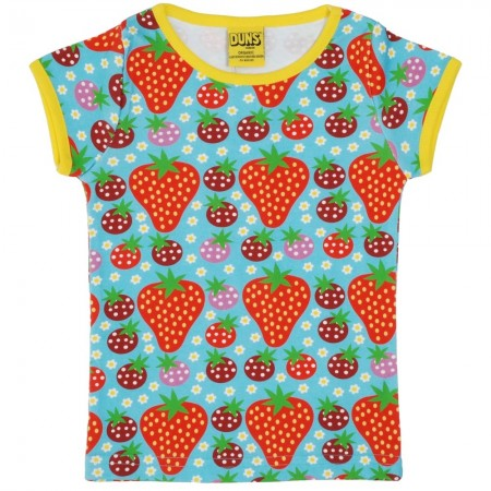 DUNS Adult Turquoise Strawberry Field SS Top