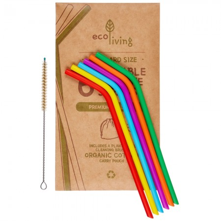 Ecoliving Silicone Straws And Brush - 6 Pack