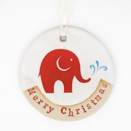 Babipur Elephant Merry Christmas Decoration