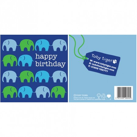 Toby Tiger Elephant Birthday Card