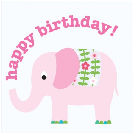 Toby Tiger Pink Elephant Birthday Card