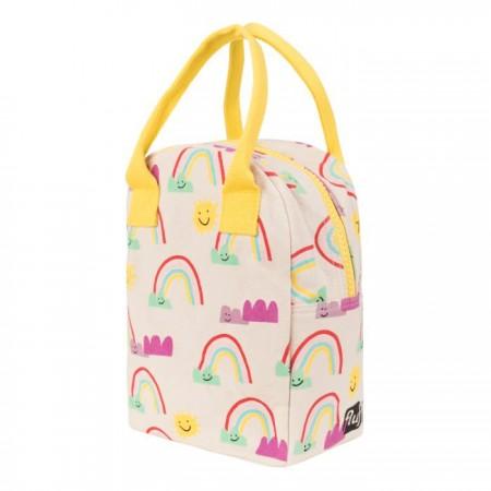 Fluf Zipper Lunch Bag - Rainbows