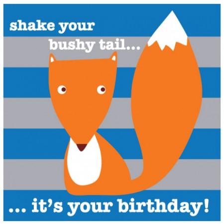 Toby Tiger Bushy Fox Birthday Card