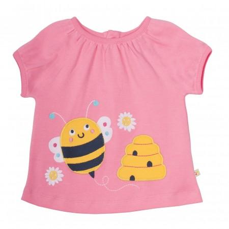 Frugi Annie Applique Top - Strawberry/Bee