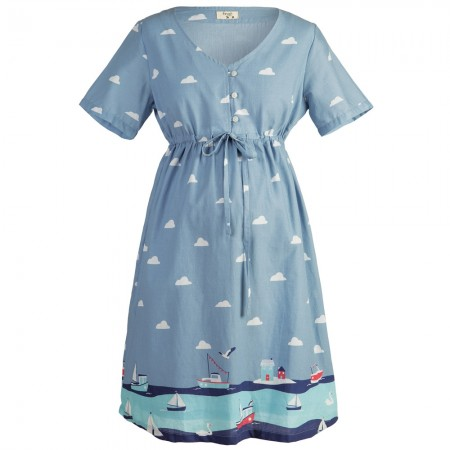 Frugi Bloom Seaside Border Smock Dress