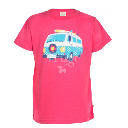 Frugi Cornish Printed T-shirt - Raspberry/Camper