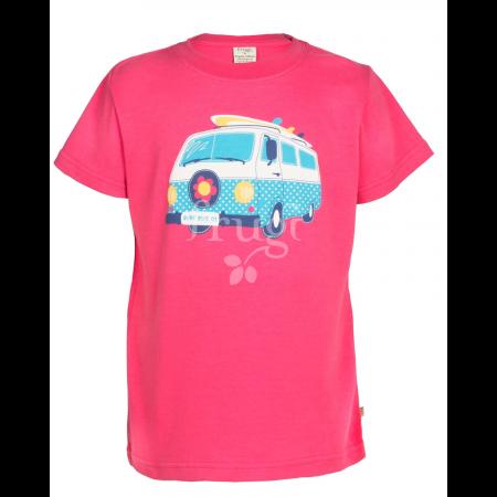 Frugi Cornish Printed T-shirt - Raspberry/Camper