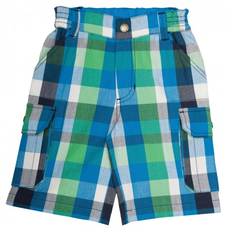 Frugi Check Shorts - Green/Blue Multicheck
