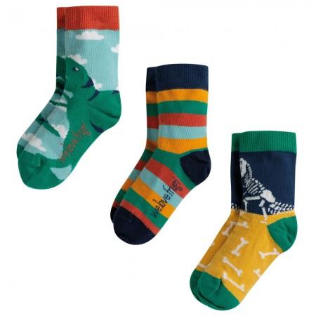 Frugi Dino Rock My Socks 3 Pack