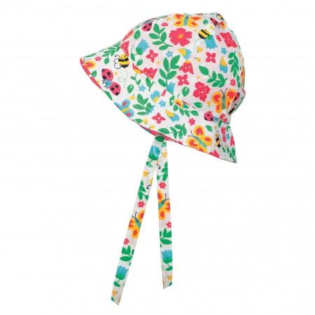 Frugi Reversible Ditsy Hat - Garden Friends