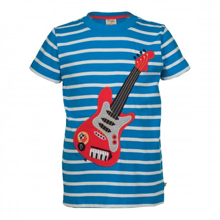 Frugi Fowey Applique T-shirt - Diver Blue Breton/Guitar