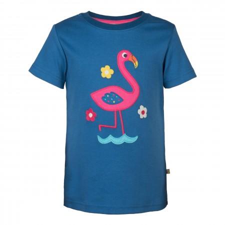 Frugi Gwenver Applique T-Shirt - Ink/Flamingo