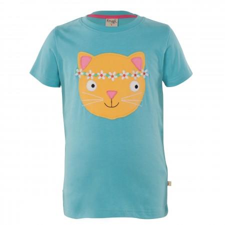 Frugi Gwenver Applique T-Shirt - Aqua/Cat