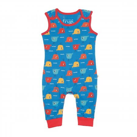 Frugi Kneepatch Dungarees - Whale Friends