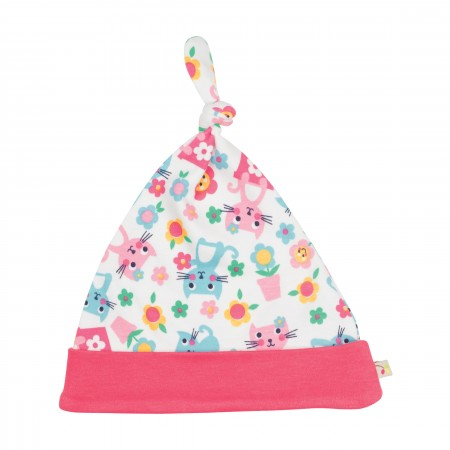 Frugi Lovely Knotted Hat - Cat Friends