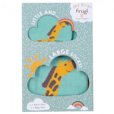Frugi Little & Large Giraffe Socks 0-6 Months / Large Adults