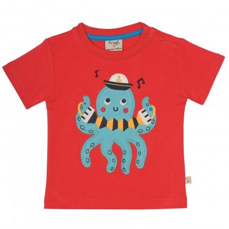 Frugi Little Creature Applique T-shirt - Tomato/Octopus